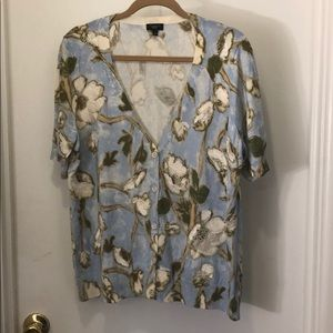 Talbots Floral Print Short-Sleeved Cardigan